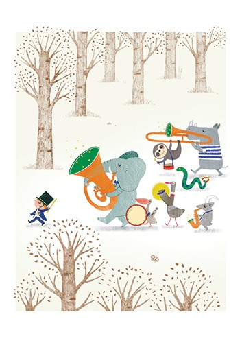 Marta Cabrol Illustration - marta cabrol, marta, cabrol, painted, digital, novelty, picture book, commercial, educational, sweet, young, fiction, acrylic, trade, tree, trees, outdoors, outside, animals, cute, wildlife, wild, forest, band, music, marching band, orchestra, instruments