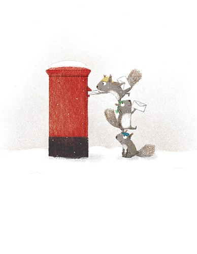 Marta Cabrol Illustration - marta cabrol, marta, cabrol, painted, digital, novelty, picture book, commercial, educational, sweet, young, fiction, acrylic, trade, wild, wildlife, animals, nature, squirrel, squirrels, cute, post box, postbox, mailbox, post, letters, winter, snow, seas