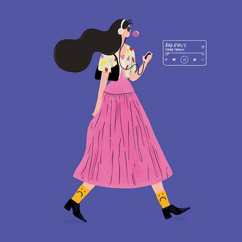 Melissa Chaib Illustration - Melissa Chaib, Melissa, Chaib, pencil, traditional, digital, photoshop, line work, colourful, colour, girl, character, woman, music, headphones, iPod, device, technology, walking, boots, phone, bubblegum, dress, walk,