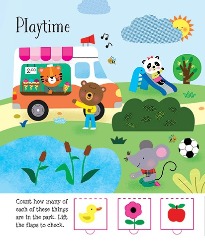 Melisande Luthringer Illustration - melisande luthringer, melisande, luthringer, illustration digital, commercial, novelty, educational, animals, outside, park, garden, trees, bushes, pond, football, ice cream, tiger, bear, panda, mouse, slide, playing, sun, summer
