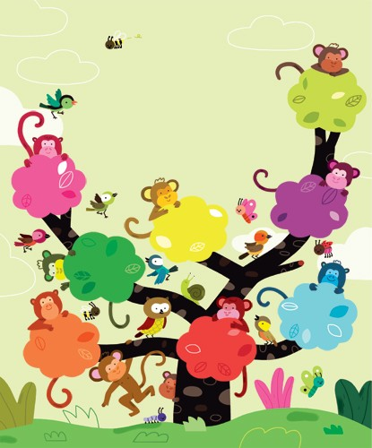 Melisande Luthringer Illustration - melisande luthringer, digital, commercial, novelty, educational, tree, monkeys, animals, sweet, young