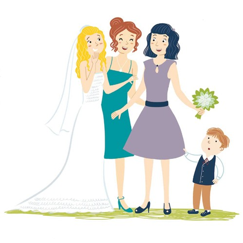 Mirella Mariani Illustration - mirella, mariani, mirella mariani, digital, photoshop, illustrator, educational, commercial, picture books, people, person, girls, women, boy, child, figurative, wedding, wedding dress, dresses, friendship, laughter, laughing, grass, page boy,