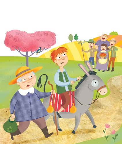Mirella Mariani Illustration - mirella, mariani, mirella mariani, digital, photoshop, illustrator, educational, commercial, picture books, people,person, child, man, farmers, field, tree, path, hills, donkey, animal, hat, rake, flowers