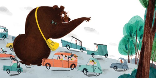 Marisa Morea Illustration - marisa, morea, marisa morea, trade, picture books, greetings cards, editorial, fiction, advertising, magazines, stationary, printed, textured, painted, digital, photoshop, illustrator, retro, bears, animals, teddy bears, cars, traffic, roads, vehicles,