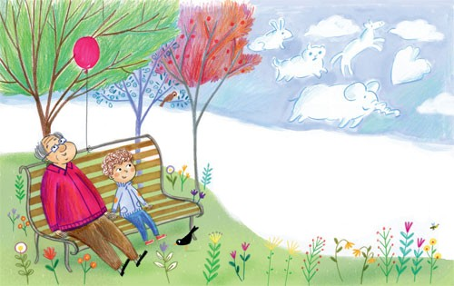 Mirella Mariani Illustration - mirella, mariani, mirella mariani, photoshop, hand drawn, crayon , educational, commercial, picture books, people, child, person, man, grandad, grandpa, boy,park, clouds, animals, elephant, rabbit, trees, flowers, YA, young reader