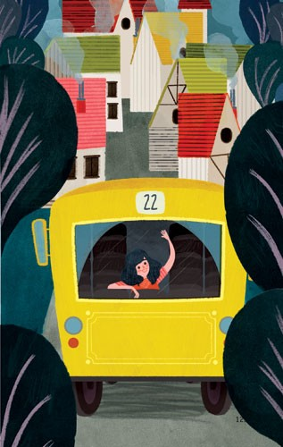 Marisa Morea Illustration - marisa, morea, marisa morea, trade, picture books, greetings cards, editorial, fiction, advertising, magazines, stationary, printed, textured, painted, digital, photoshop, illustrator, colourful, houses, girl, bus, vehicle, trees, colour, figure, child, p