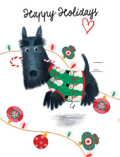Marisa Morea Illustration - marisa, morea, marisa morea, trade, picture books, greetings cards, editorial, fiction, advertising, magazines, stationary, printed, textured, painted, digital, photoshop, illustrator, dog, christmas, candy, cane, lights, twinkle, festive, winter, xmas, b