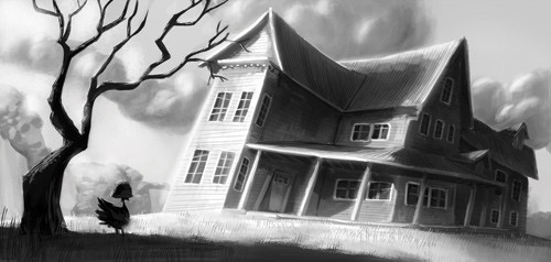 Mike  Michell Illustration - mike, michell, mike michell, commercial, fiction, young readers, fantasy, paint, painted, watercolour, acrylics, comics, digital, black and white, greyscale, houses, homes, eerie, spooky, chickens, pets, haunted houses, trees, silhouettes