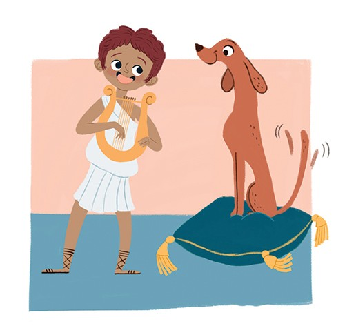 Marisa Morea Illustration - marisa, morea, marisa morea, trade, mass market, historical, picture books, education, non-fiction, painted, digital, photoshop, illustrator, boy, dog, pet, animal, musical instrument, music, ancient rome, ancient greece, sandals,
