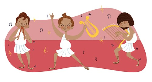Marisa Morea Illustration - marisa, morea, marisa morea, trade, mass market, historical, picture books, education, non-fiction, painted, digital, photoshop, illustrator, ancient rome, ancient greece, boys, children, dancing, music, instruments, stars, fun, happy, dance, harp, record