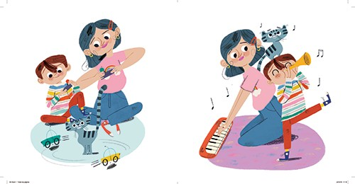Marisa Morea Illustration - marisa morea, trade, mass market, picture books, fiction, painted, digital, photoshop, illustrator, colour, colourful, character, boy, mamo, woman, mother, son, family, love, playing games, cat, pet, music, keyboard, trumpet, fun, happy, cars, racing, tra