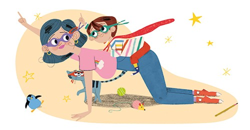 Marisa Morea Illustration - marisa morea, picture books, fiction, digital, photoshop, illustrator, colour, colourful, character, boy, mamo, woman, mother, son, family, love, super, superheroes, heroes, fancy dress, playing, games, cape, flying, stars, masks, cat, pet, funny, cute, s