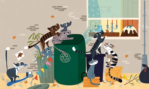 Marisa Morea Illustration - marisa morea, trade, mass market, picture books, fiction, painted, digital, photoshop, illustrator, colour, colourful, cats, christmas, fun, silly, window, christmas pudding, bins, garbage, mess, cute, sweet