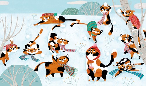 Marisa Morea Illustration - marisa morea, trade, mass market, picture books, fiction, painted, digital, photoshop, illustrator, colour, colourful, cats, christmas, fun, silly, snow, winter, festive, seasonal, snowballs, snowball fight, game, playing, scarf, hat,