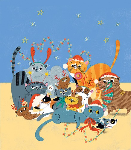 Marisa Morea Illustration - marisa morea, trade, picture books, painted, digital, photoshop, illustrator, colour, colourful, cats, christmas, fun, silly, decorations, festive, seasonal, lights, antlers, costumes, cute, tangle, group, friends, love, cute, sweet, christmas hats, hats,