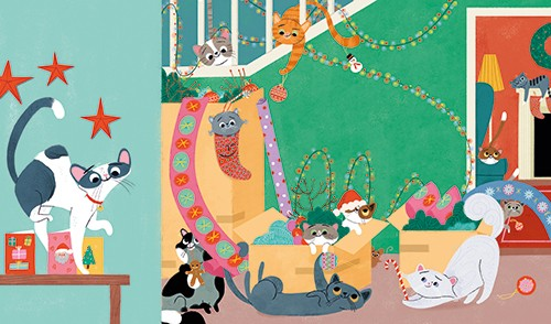Marisa Morea Illustration - marisa morea, trade, mass market, picture books, fiction, painted, digital, photoshop, illustrator, colour, colourful, cats, christmas, fun, silly, house, home, decorations, boxes, mess, chaos, festive, seasonal, stairs, staircase, lights, stars, wrapping