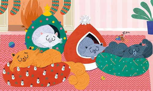 Marisa Morea Illustration - marisa morea, trade, mass market, picture books, fiction, painted, digital, photoshop, illustrator, colour, colourful, cats, christmas, fun, silly, sleeping, sleep, asleep, beds, cushions, presents, gifts, wrapping, wrapping paper, fire, cosy, stockings,
