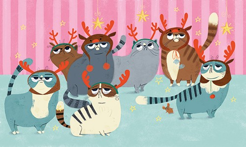 Marisa Morea Illustration - marisa morea, trade, mass market, picture books, fiction, painted, digital, photoshop, illustrator, colour, colourful, cats, christmas, fun, silly, decorations, costumes, antlers, stars, fancy dress, dressing up, dress up, funny,