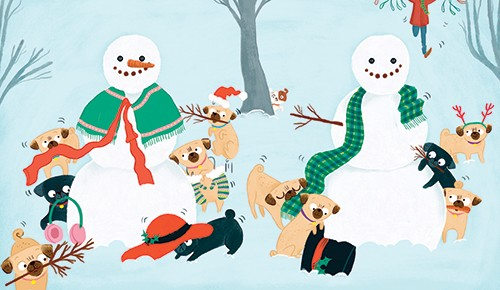 Marisa Morea Illustration - marisa, morea, marisa morea, trade, picture books, greetings cards, editorial, fiction, advertising, stationary, painted, digital, photoshop, illustrator, YA, young reader, pugs, snowman, christmas, festive, seasonal