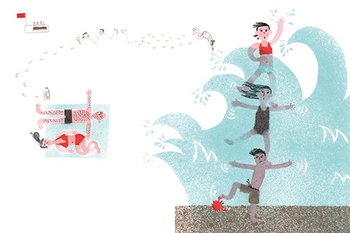 Miro Poferl Illustration - miro poferl, illustrator, trade, picture book, characters, YA, young reader, YA, young reader, water, swimming, children, family, mum, dad, pattern, texture