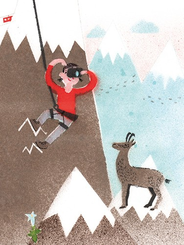 Miro Poferl Illustration - miro poferl, illustrator, trade, picture book, characters, YA, young reader, YA, young reader, mountain, person, deer, animal