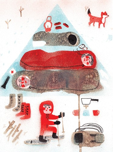 Miro Poferl Illustration - miro poferl, illustrator, trade, picture book, characters, YA, young reader, YA, young reader, fox, animal, people, children, family, camping, texture, painted