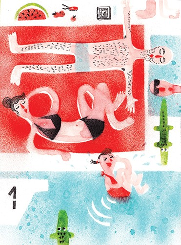 Miro Poferl Illustration - miro poferl, illustrator, trade, picture book, characters, YA, young reader, YA, young reader, sunbathing, swimming, family, mum, dad, girl, child, texture, painted