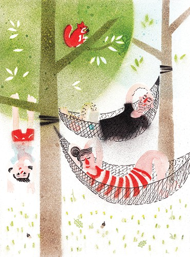 Miro Poferl Illustration - miro poferl, illustrator, trade, picture book, characters, YA, young reader, YA, young reader, hammock, girl, child, mum, dad, family, tree, painterly, quirky, texture, printed