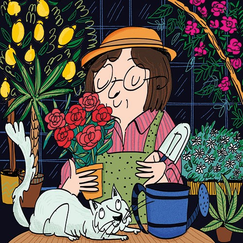Maria Serrano  Illustration - maria serrano canovas, maria, serrano, canovas, digital, photoshop, illustrator, editorial, poster, educational, picture book, commercial, mass market, secret, garden, woman, grandma, grandmother, flowers, plants, trees, roses, lemons, cat, watering