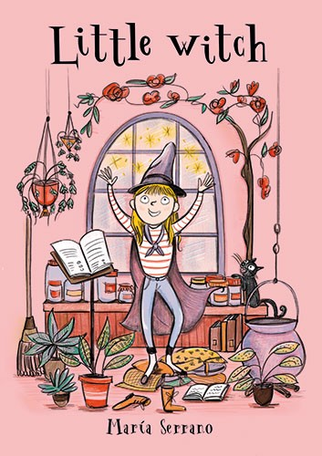 Maria Serrano  Illustration - maria serrano canovas, maria, serrano, canovas, digital, photoshop, illustrator, mass market, trade, girl, cover, witch, room, plants, flowers, window, stand, book, sparkles, stars, cat, pet, animal, cauldron, hat
