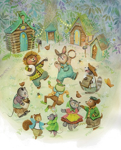Melissa Shultz-Jones Illustration - melissa, shultz-jones, melissa shultz-jones, traditional, paint, painted, watercolour, greetings cards, mass market, commercial, folk, picture book, stationary, cute, sweet, young, animals, dance, sing, song, music, lion, rabbit, frog, racoon, cat,