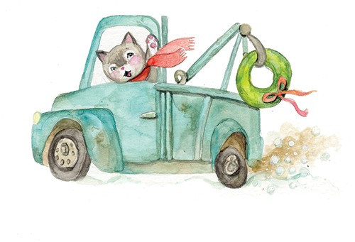 Melissa Shultz-Jones Illustration - melissa, shultz-jones, melissa shultz-jones, traditional, paint, painted, watercolour, greetings cards, mass market, commercial, folk, picture book, stationary, cute, sweet, young, animals, cat, driving, scarf, truck
