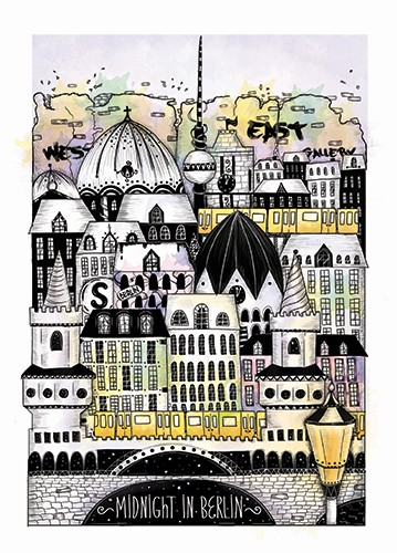 Madalina Tantareanu Illustration - madalina, tantareanu, madalina tantareanu, stationary, greetings cards, licensing, detailed, black and white, b&w, line, pencil, city, city scape, berlin, germany, europe, travel, buildings, windows, doors, houses, homes, town