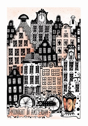 Madalina Tantareanu Illustration - madalina, tantareanu, madalina tantareanu, stationary, greetings cards, licensing, detailed, black and white, b&w, line, pencil, city, city scape, amsterdam, netherlands, travel, europe, bike, buildings, lamp, windows, doors, houses, homes, town