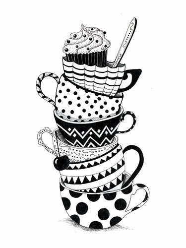 Madalina Tantareanu Illustration - madalina, tantareanu, madalina tantareanu, stationary, greetings cards, licensing, detailed, black and white, b&w, line, pencil, tea, cup, mug, plates, cake, cream, spoon, spots, dots, pattern, design, tower, kitchen
