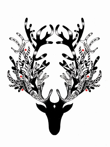 Madalina Tantareanu Illustration - madalina, tantareanu, madalina tantareanu, stationary, greetings cards, licensing, detailed, black and white, b&w, line, pencil, festive, antlers, christmas, cards,