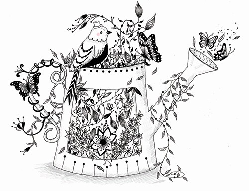 Madalina Tantareanu Illustration - madalina, tantareanu, madalina tantareanu,  stationary, greetings cards, licensing, detailed, black and white, b&w, line, pencil, black line, birds, cute, sweet, watering can, garden, flowers, nature, plants, leaves, bee, butterfly,