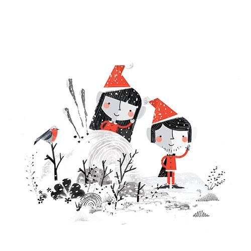 Neil Clark Illustration - neil, clark, neil clark, digital, photoshop, illustrator, picture book, young reader, mass market, trade, elves, black and white, b&w, mixed media, landscape, christmas, santa, snow, winter