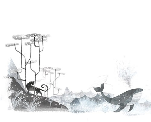 Neil Clark Illustration - neil, clark, neil clark, digital, photoshop, illustrator, picture book, young reader, mass market, trade, black and white, b&w, mixed media, landscape, world, tiger, woods, hills, sea, ocean, whale, wildlife, animals