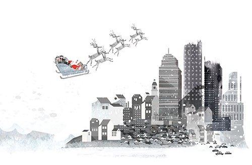Neil Clark Illustration - neil, clark, neil clark, digital, photoshop, illustrator, picture book, young reader, mass market, trade, elves, black and white, b&w, mixed media, landscape, christmas, santa, sleigh, city, town, flying, buildings, snow, winter