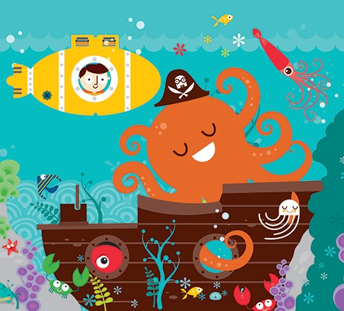 Neil Clark Illustration - neil, clark, neil clark, digital, photoshop, illustrator, picture book, young reader, mass market, trade,colour, bright, character, under water, ocean, waves, submarine, pirate, skull & crossbones, boy, octopus, squid, fish, crab, star fish