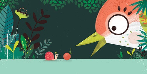 Neil Clark Illustration - neil, clark, neil clark, digital, photoshop, illustrator, picture book, young reader, mass market, snail, story, nature, flowers, plants, animal, wild, andre the snail, hat, cute, sweet, bird, big, small, scared, beak, cherry, fruit,
