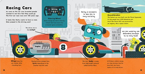 Neil Clark Illustration - neil, clark, neil clark, digital, photoshop, illustrator, picture book, young reader, mass market, colourful, dog, robot, clever cogz, book, series, non fiction, educational, racing, race car, car, how things work, information, mechanic, motor, sport, eng