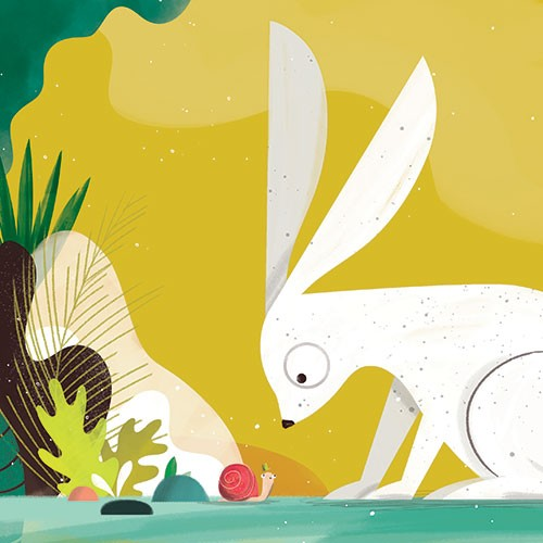 Neil Clark Illustration - neil, clark, neil clark, digital, photoshop, illustrator, picture book, young reader, mass market, colourful, nature, rabbit, bunny, animal, snail, plants, wood, wild, big, small, leaves