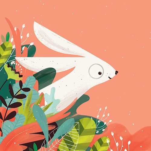 Neil Clark Illustration - neil, clark, neil clark, digital, photoshop, illustrator, picture book, young reader, mass market, colourful, rabbit, bunny, animal, wild, nature,plants, leaves, flowers, happy, smile