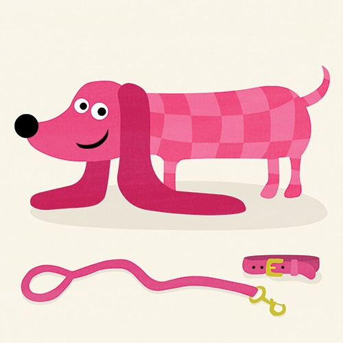 Nastja Holtfreter Illustration - nastja, holtfreter, nastja holtfreter, commercial, educational, fiction, mass market, value, greetings cards YA, young reader, picture book, digital, photoshop, dog, pink, pet, cute, sweet, lead, pattern