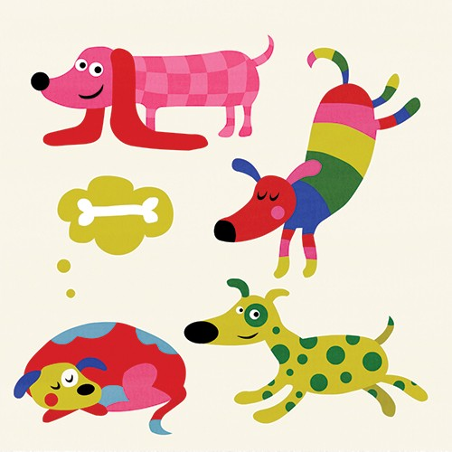 Nastja Holtfreter Illustration - nastja, holtfreter, nastja holtfreter, commercial, educational, fiction, mass market, value, greetings cards YA, young reader, picture book, digital, photoshop, colourful, dogs, pet, animal, pattern, cute, humorous