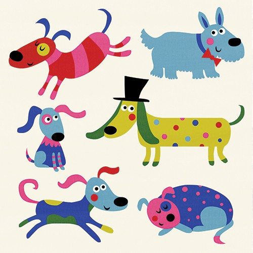 Nastja Holtfreter Illustration - nastja, holtfreter, nastja holtfreter, commercial, educational, fiction, mass market, value, greetings cards YA, young reader, picture book, digital, photoshop, polka dot, pattern, colourful, dogs, pets, animals, top hat, cute, sweet, humorous