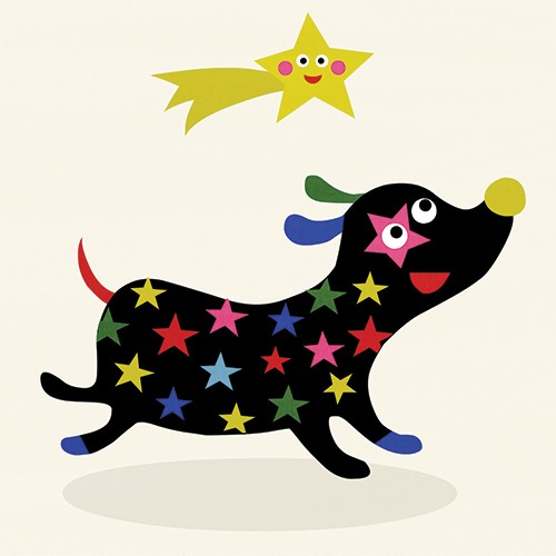 Nastja Holtfreter Illustration - nastja, holtfreter, nastja holtfreter, commercial, educational, fiction, mass market, value, greetings cards YA, young reader, picture book, digital, photoshop, shooting star, star, pattern, dog, animal, pet, cute, colourful