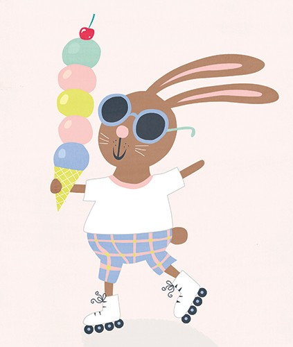 Nastja Holtfreter Illustration - nastja, holtfreter, nastja holtfreter, commercial, educational, fiction, mass market, value, greetings cards YA, young reader, picture book, digital, photoshop, rabbit, bunny, bunny rabbit, cute, colourful, pattern, ice-cream, sunglasses